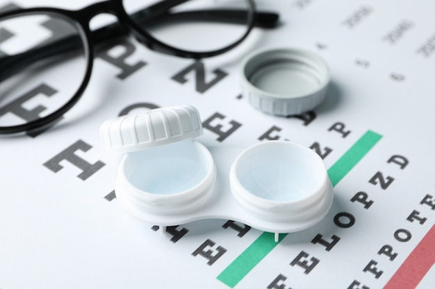 Glasses, case for contact lenses and eye test chart, close up