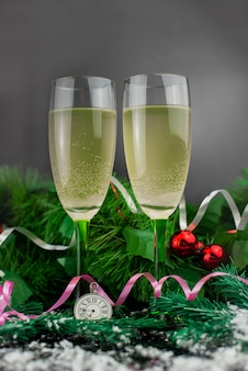 Glasses of champagne to celebrate christmas