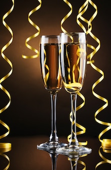 Glasses of champagne and streamer