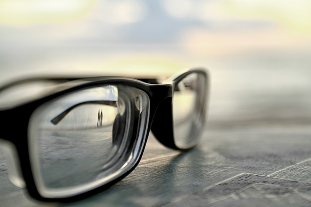 Glasses covered with bokeh backgrounds