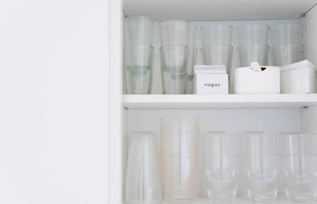 Glasses in cupboard