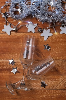 Glasses and decorations on table