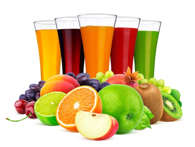 Glasses of different juice, fruits and berries isolated on white