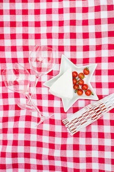 Glasses food on the tablecloth