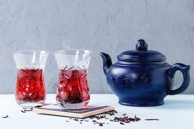 Glasses of hibiscus tea