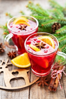 Glasses of hot mulled wine
