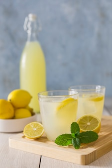 Glasses of lemonade with mint