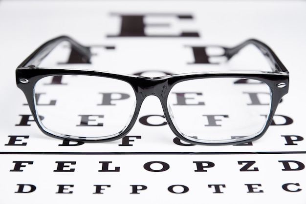 Glasses lie on the table for eye examination