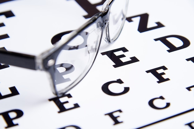 Glasses lie on the table for eye examination.