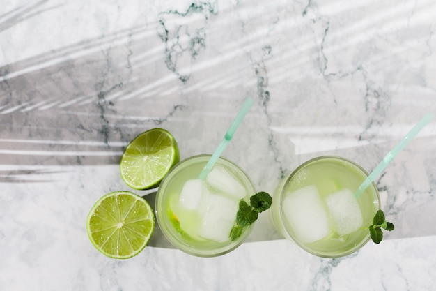 Glasses of lime lemonade with mint