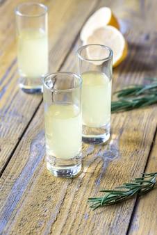 Glasses of limoncello