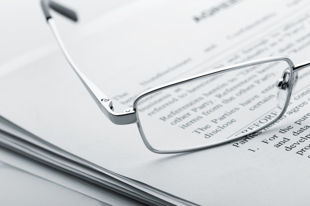 Glasses on the newspaper
