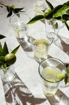 테이블에 레몬 조각과 물 잔