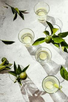 テーブルの上のレモンスライスと水のガラス