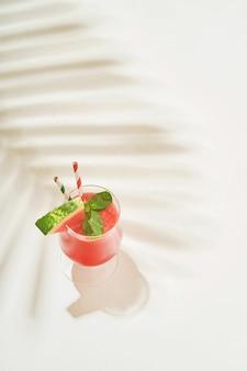 민트와 얼음을 곁들인 수박 마가리타 칵테일 한 잔. 흰색 배경에 열대 잎의 그림자가 있는 안경에 여름 상쾌한 음료. 건강한 여름 식사의 개념입니다.