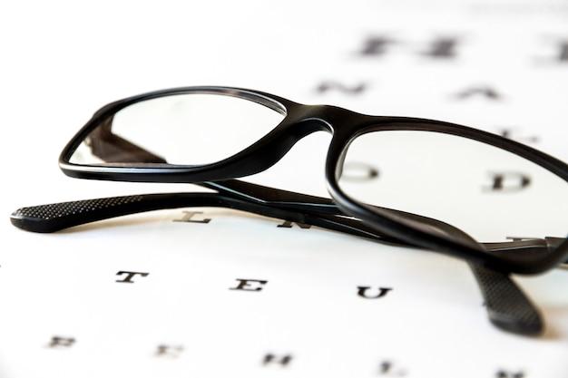 アイチャートのメガネ。光学デバイスの背景