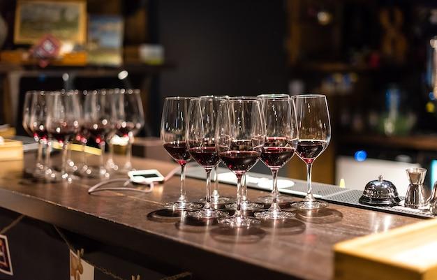 Glasses of red wine in the restaurant for dinner