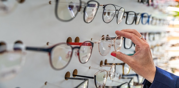 Glasses in a showcase of eye surgery and trade