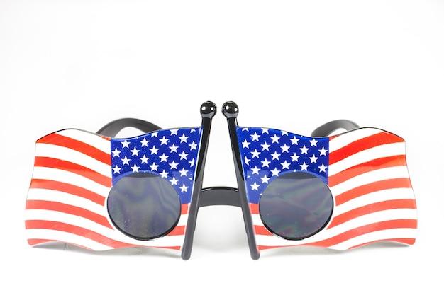 Glasses stripes american flag on white background
