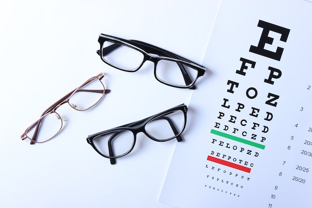 Glasses and a table for checking eyesight on a colored background top view