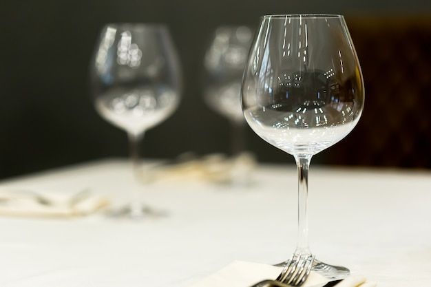Glasses on the table serving restaurant