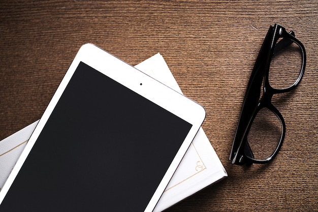 Glasses and a tablet