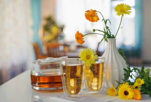 Glasses of tea ready for drinking