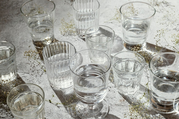 Glasses of water on table