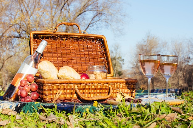 Glasses of wine next to picnic basket