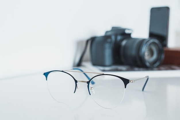 Glasses with camera and phone