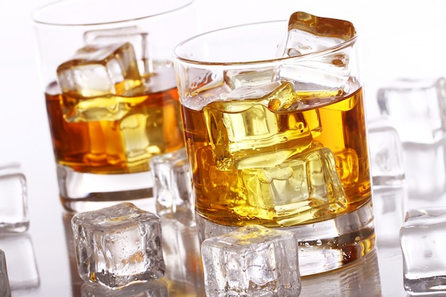 Glasses with cold whiskey