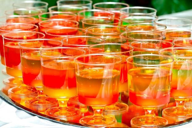 Glasses with colored jelly