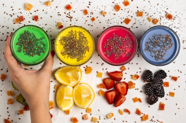 Glasses with colorful smoothies