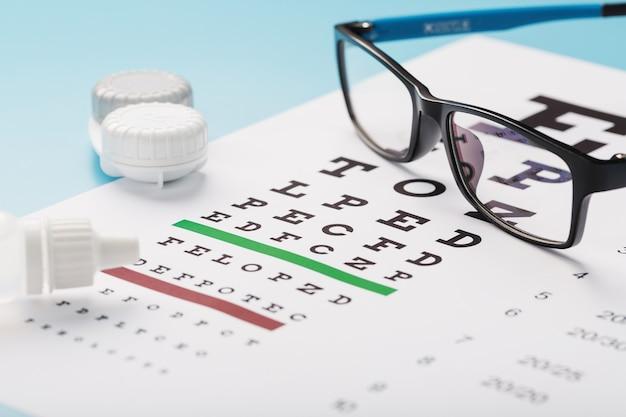 Очки с контактными линзами, капли и таблица проверки глаз оптометриста на синем фоне. крупный план