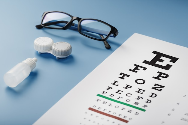 Очки с контактными линзами, капли и таблица проверки глаз оптометриста на синем фоне. вид сверху. свободное место