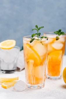 Glasses with fresh ice tea