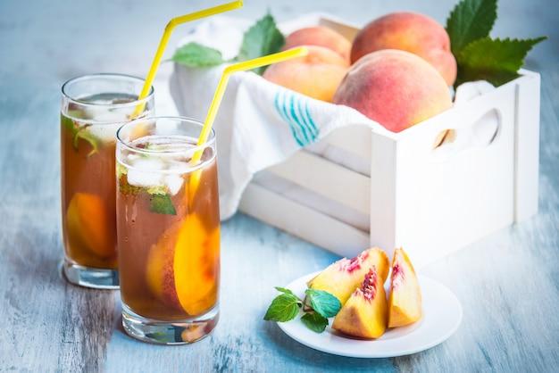 Glasses with homemade ice tea.