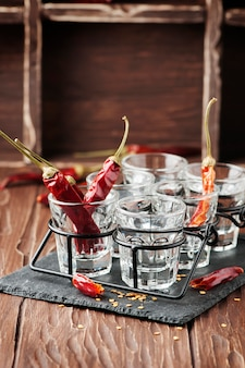 Glasses with hot chili peppers
