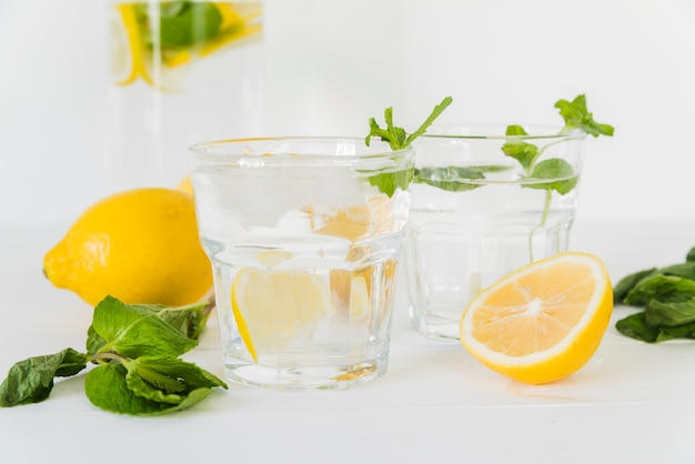 Glasses with lemon mint water