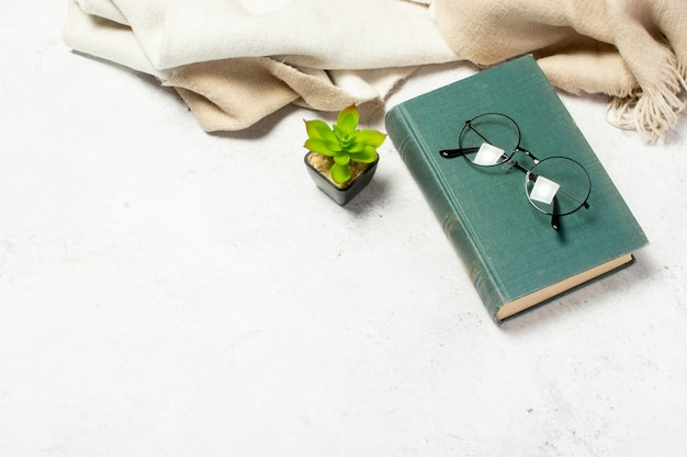 Glasses with round glasses lie on the book, a woolen scarf and a room flower on a white light background.