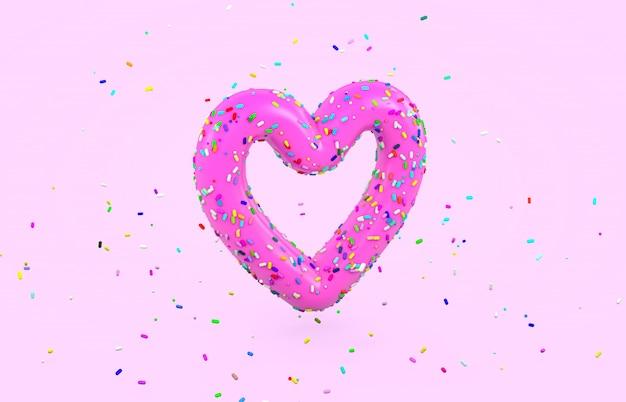 Glazed donut font with colorful sugar sprinkles in heart shape. 3d render