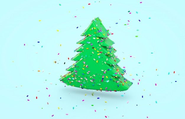 Glazed donut with colorful sugar sprinkles in christmas tree shape. 3d render