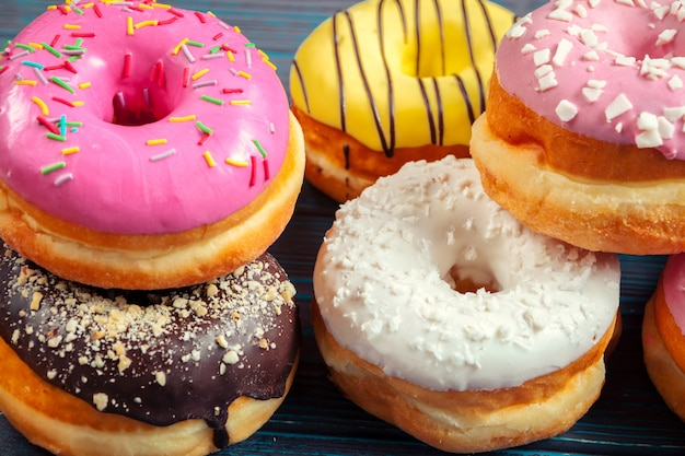 Glazed donuts close-up