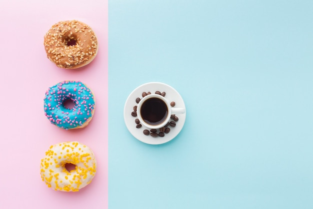 Glazed donuts set with coffee