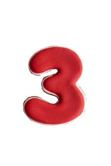 Глазированное расписное печенье №3. пряники в виде цифр. изолированный.
