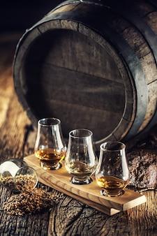 Glencairn дегустирует чашки для виски с деревянной бочкой, торфом и ячменем рядом с ними.