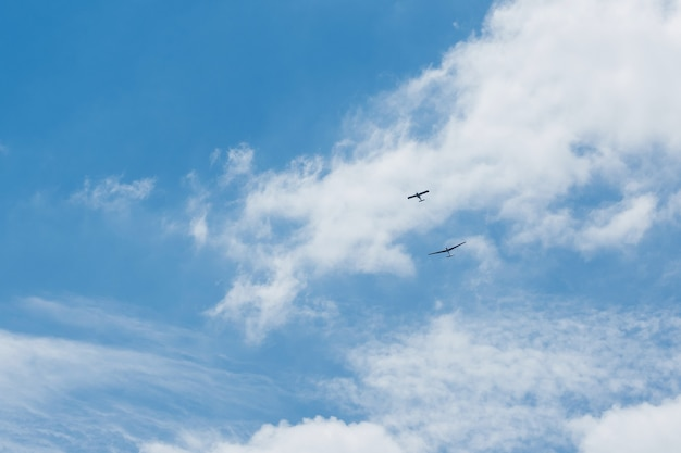 Glider planes flying in the sky