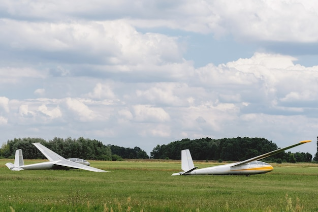 Gliders on the airfield waiting to go into the air