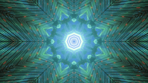 Glimmering striped kaleidoscopic background in green and blue colors