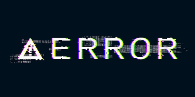 Glitch effect exclamation mark failing system